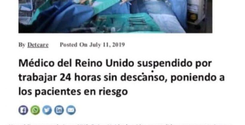 Suspenden a un médico por trabajar 24 horas sin descanso