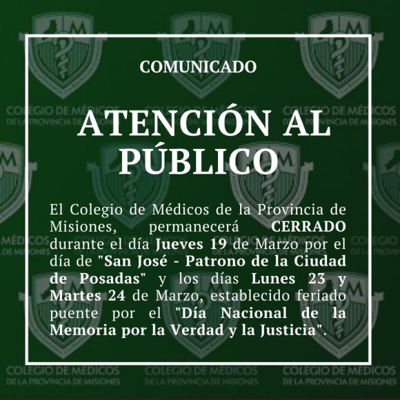 ATENCIÓN AL PUBLICO DEL COLEGIO DE MÉDICOS