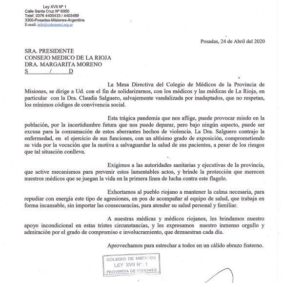 El Colegio de Médicos de Misiones se solidariza con los colegas de La Rioja