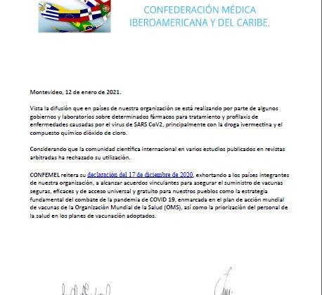 CONFEMEL rechaza el uso de Ivermectina y dióxido de cloro para el tratamiento del Covid
