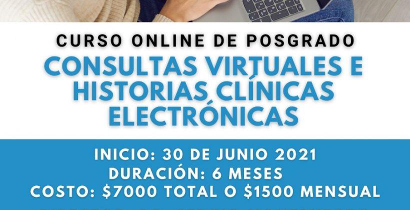 "Curso On Line de Posgrado: ""Consultas virtuales e historias clínicas electrónicas"""