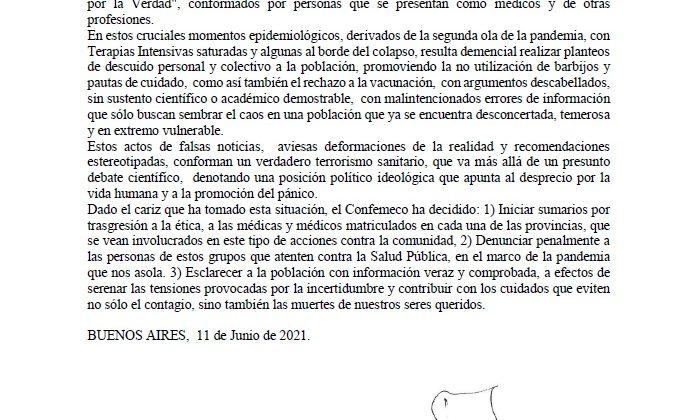 """Repudio a las acciones temerarias de grupos denominados """"Médicos por la Verdad"""""""