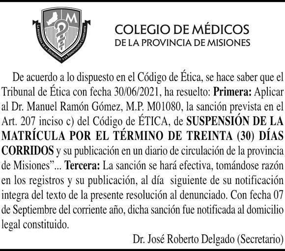 COMUNICADO DE SUSPENSIÓN – TRIBUNAL DE ÉTICA COLEGIO DE MÉDICOS MISIONES